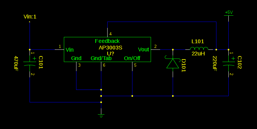 Initial AP3003S 5v switching supply schematic